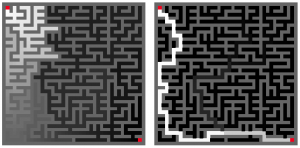 Fluid flow in maze.